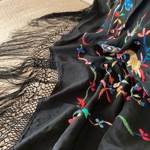 Vintage Embroidered Satin Shawl